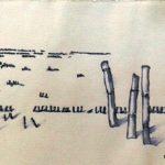 Federzeichnung Tinte, Wasser auf Papier, 15x20cm