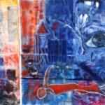 Diptychon, Mischtechnik, Monotypie, Ölfarben auf Papier auf Holz, 100x140cm