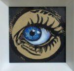 Linolschnitt, Künstlerhanddruck handcoloriert, Durchmesser ca. 8,5 cm, Auflage 56, massiver Holzrahmen 20x20 cm, signiert und datiert auf Rückseite
