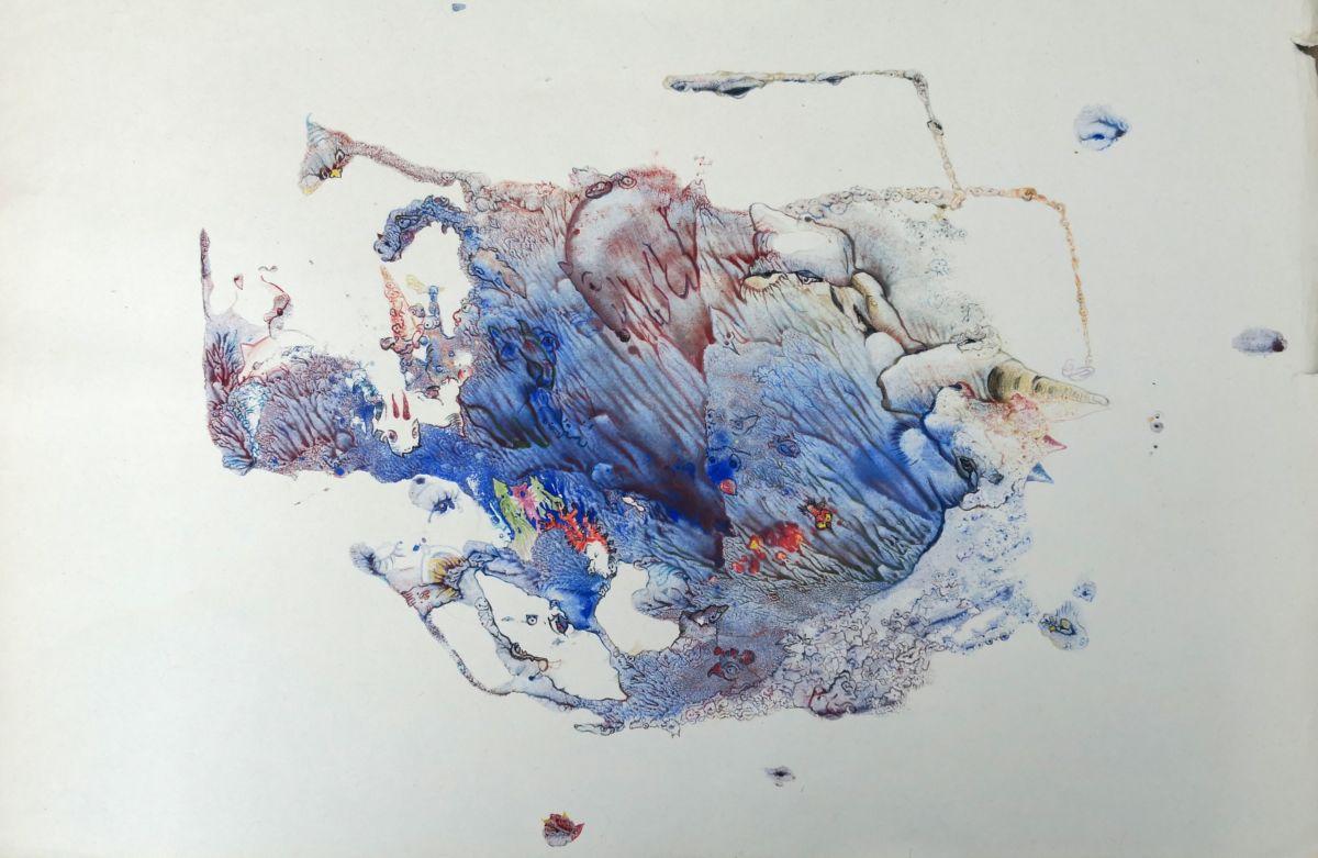 Mischtechnik auf altem Papier, 42x59,4cm