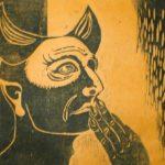 Holzschnitt, Künstlerhanddruck auf gefärbtem Seidelbastpapier, Auflage 46, ca. 71x52 cm, signiert und datiert